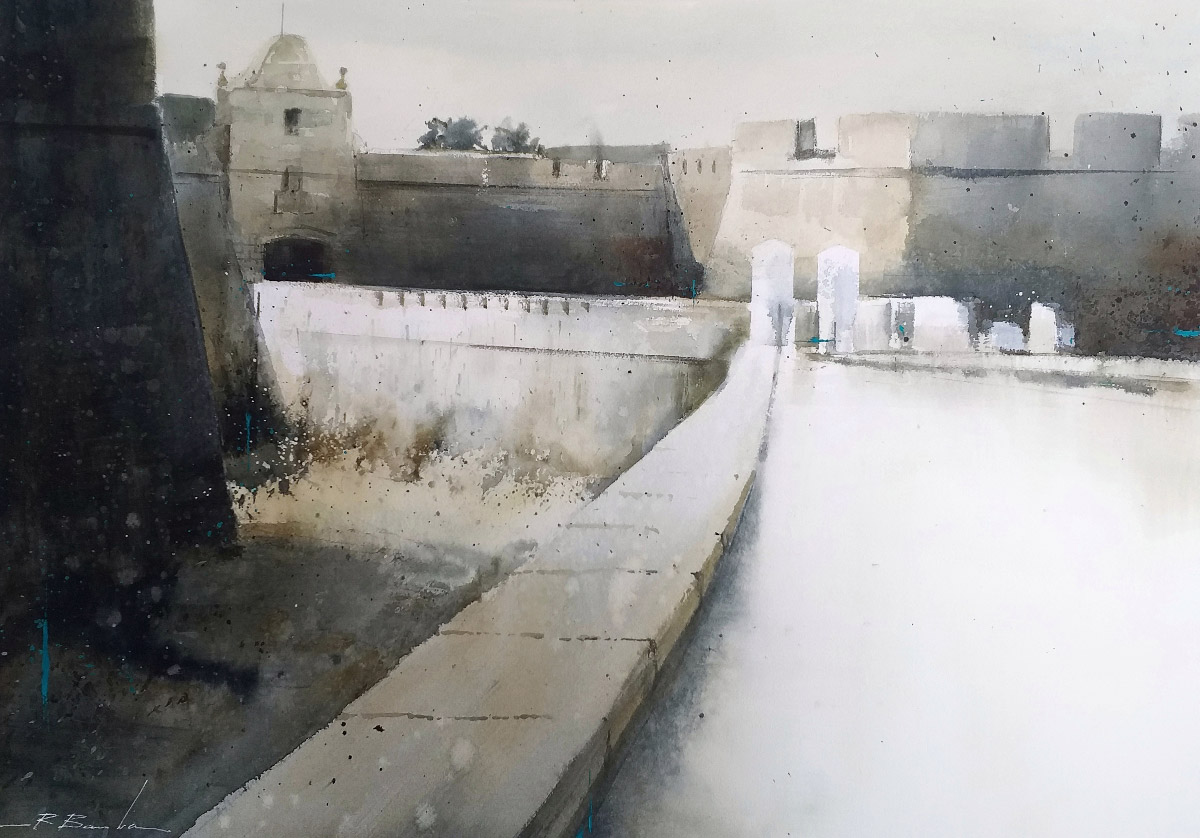 Entrada al Castillo Santa Catalina - 5ºPREMIO - X Certamen de Pintura Rápida Pinta la Caleta